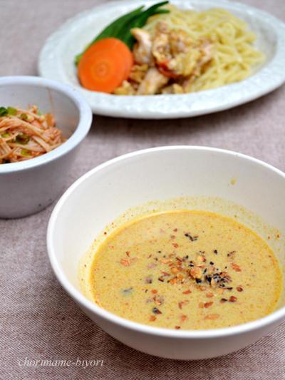 カオソーイ風つけ麺。焼きえのきのコチュジャン和え。の晩ご飯。
