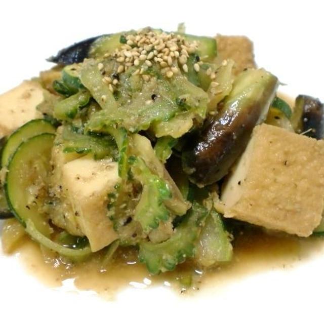 厚揚げと夏野菜のゴマしょうが炒め