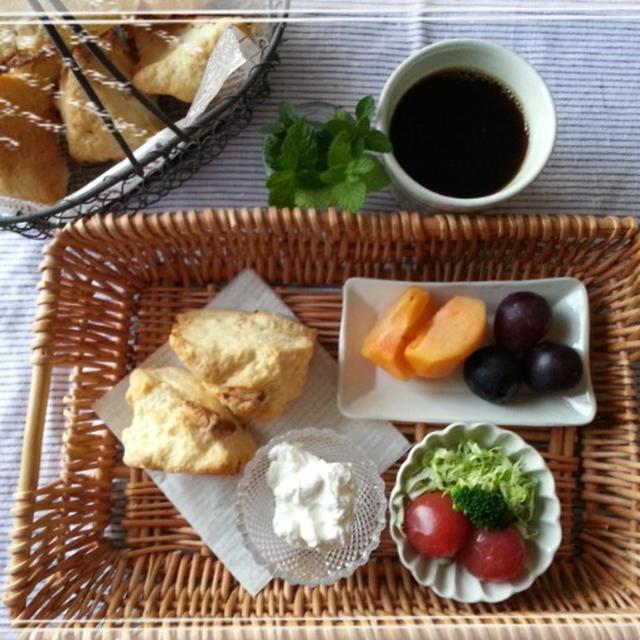 早~い朝は時短・簡単ザクザクスコーンDE美味しいモーニングTimeです♪(〃ω〃)
