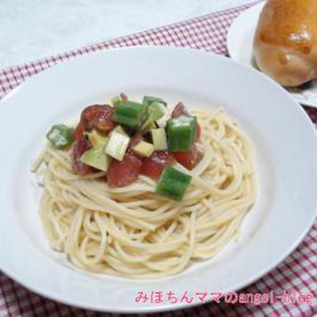 ☆今日の夕食~マグロとアボカドの冷製パスタ&自家製バターロール☆