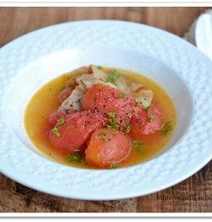 うま味の相乗効果でうま味倍増。豚バラトマトの昆布煮込み