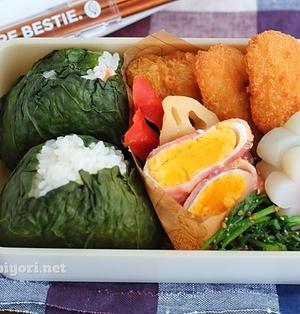 【レンジベーコンエッグ】レシピ+広島菜おにぎりのお弁当