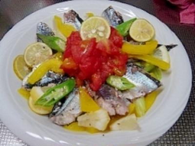 秋刀魚のハーブ蒸しマリネ(ルクエ)