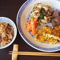 ひじきの煮物で2品。乾物たっぷり中華おこわ&卵焼き♪
