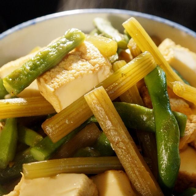 菜園野菜で簡単な常備菜【蕗/厚揚げ/インゲンの甘辛炒め煮】