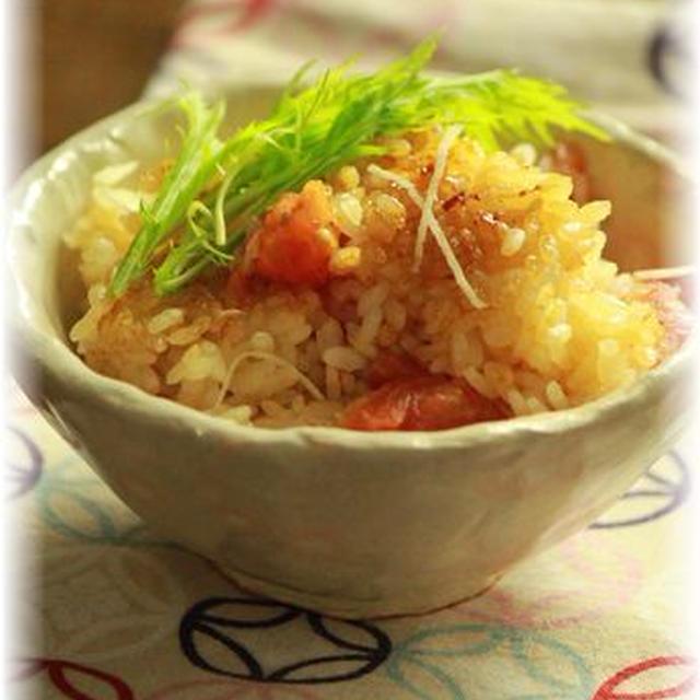トマトと生姜の炊き込みご飯。 と献立。