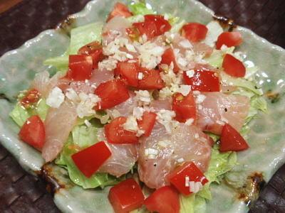 真鯛と角切りトマトのカルパッチョ風サラダ(レシピ付)