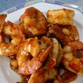 友人夫婦との宴 ~ 牡蠣、エビチリ、豚バラ肉かば焼き風、鶏塩レモン