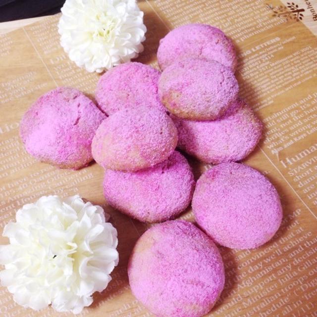 桜色のブールドネージュ(ピンクのスノーボール)風♡「ドロップクッキー」春のお祝いにも!