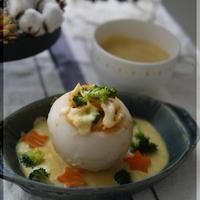蕪の蟹トマクリームパスタのファルシ