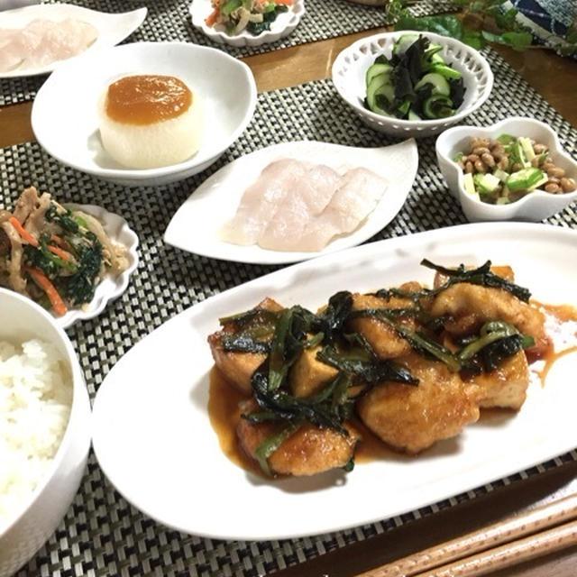 鶏肉と厚揚げのジャン照り♪ふろふき大根♪小松菜とツナの和えもの♪