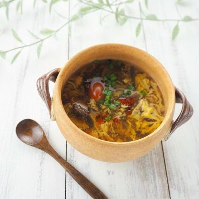 【レシピ】自然な旨み、もずく酢でサンラータン風スープ