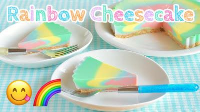 レインボーチーズケーキ 食欲をそそるパステルカラー♪(動画レシピ)