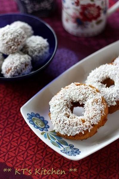 南瓜とクランベリーのココナッツドーナツ