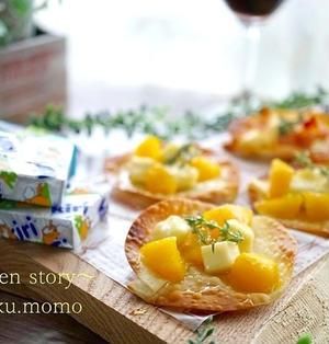 トースターで焼くだけ!サクバリッ★餃子の皮で作れるチーズオードブル♪2種類(ポイントはオイルと蜂蜜!)