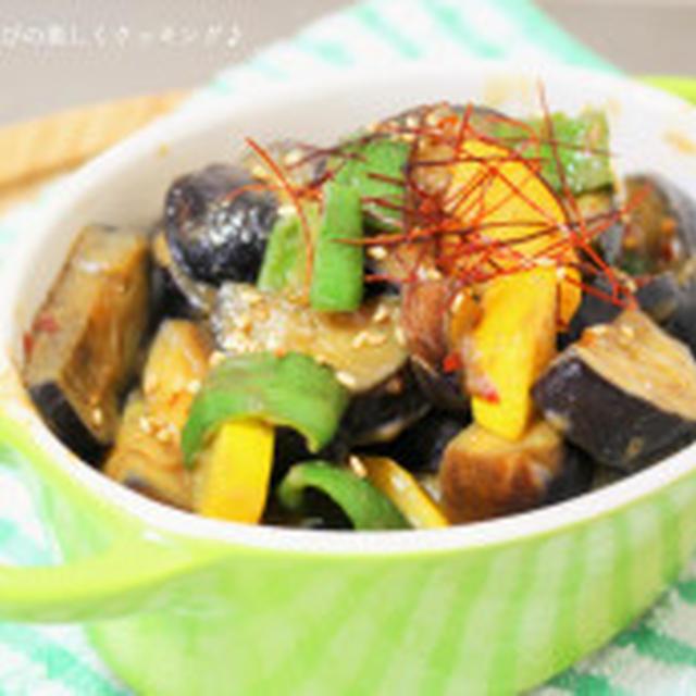 パッパッと作ってご飯が進む♪ナスと夏野菜のピリ辛味噌炒め