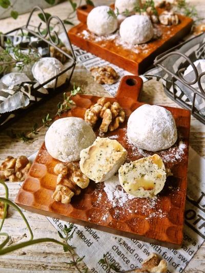 ♡ポリ袋&サラダ油de超簡単♡クルミと紅茶のスノーボール♡【#お菓子#クリスマス】