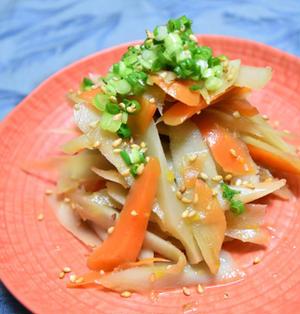 柚子胡椒風味のさっぱりごぼうサラダ。マヨネーズ不使用で大人の味。