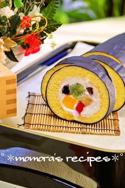 ホットケーキミックスでも簡単♪節分に恵方巻きロールケーキ