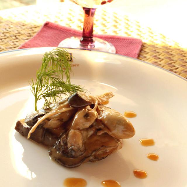 牡蠣とエリンギのミルフィーユ盛り 《包丁を使わない料理》