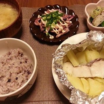 鱈のホイル焼き塩バターとベビースイミング
