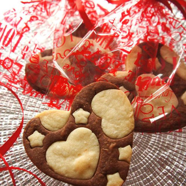 安物買いでも☆*。・ハートの型抜チョコ&バニラクッキー