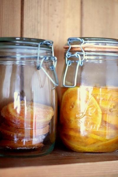 オレンジスライスの砂糖煮と砂糖菓子