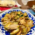 【青椒肉絲の素で簡単】茄子とズッキーニと油揚げの甘みそ炒め