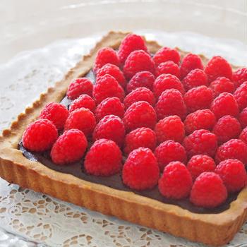 生クリーム不使用☆ ラズベリーの豆乳チョコレートタルト