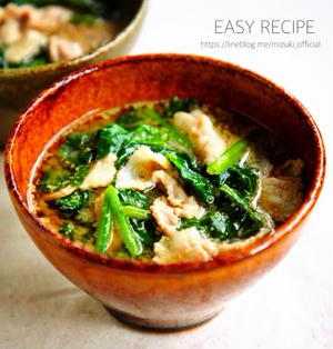 ♡5分de完成♡豚肉とほうれん草のごま味噌スープ♡【#簡単#時短#節約】