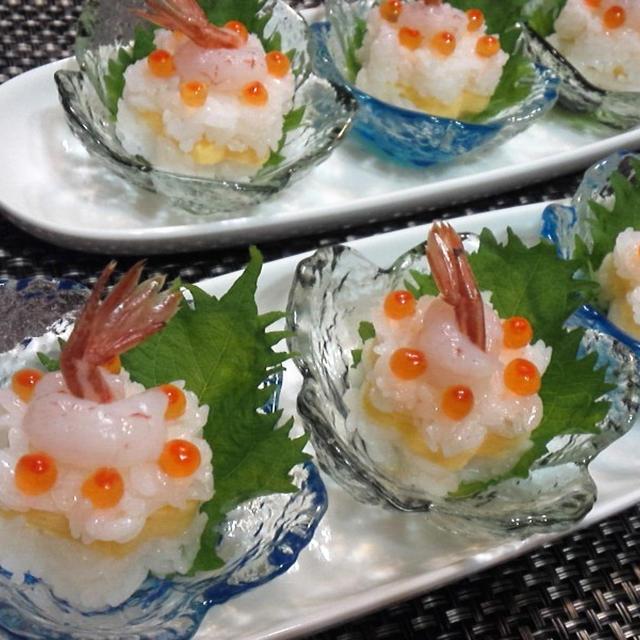 【レシピ】かわいい★おもてなし★子供喜ぶ【花形ミニお寿司~エビ・いくらのせ~】