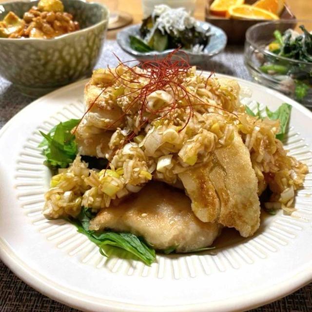 【鶏肉と豆腐のねぎソース】#むね肉#簡単#節約#ボリュームおかず
