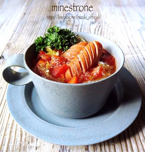 ♡レンジde簡単ミネストローネ♡【#時短#スープ#ノンオイル】