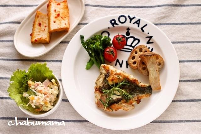 黒鯛のガーリックハーブソテー、レンコンとエノキのソテー、トマト、ブロッコリー厚揚げのスイートチリソース焼き、ポテトサラダ