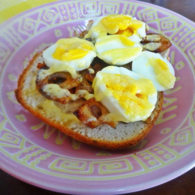 ゆで卵と蓮根の柚子胡椒キンピラたまパン