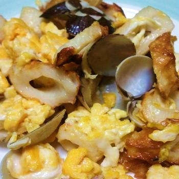 竹輪とアサリの炒り卵☆