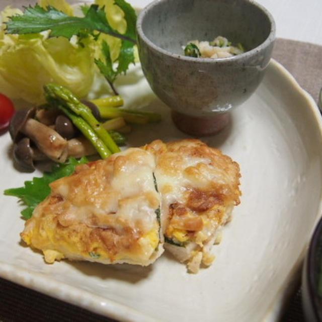 ささみピカタのチーズ焼きのワンプレートご飯  大根と豆苗のピーナッツ和え