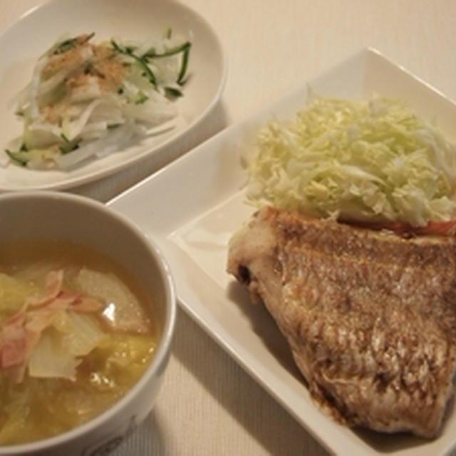 白菜スープとイトヨリのポアレのお献立
