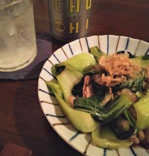 チンゲン菜と豚バラのポン酢ラー油炒め