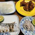 太刀魚の塩焼きとから揚げ。マルちゃん正麺で台湾ラーメン。