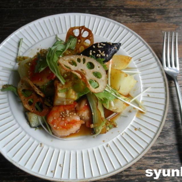 【簡単!!カフェサラダ】海老とじゃがいも、茄子、蓮根の温サラダ