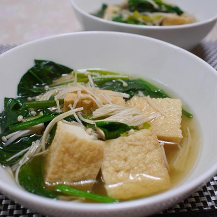 厚揚げ入り中華風えのきスープ