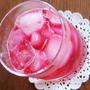 赤紫蘇ジュースと高野豆腐の茄子あんかけ