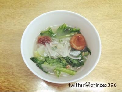 小松菜と干し椎茸の甘いスープ♡