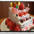 雛祭りケーキに挑戦★ピンク色の生クリーム