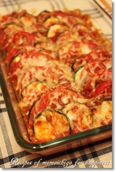 トマトとなす、ズッキーニのチーズ焼き♪