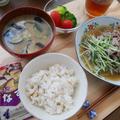 アマノフーズいつものお味噌汁と水菜と豚肉のサッと煮