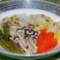 白菜と豚肉の重ね蒸し~春アスパラと共に~