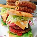 こいのぼりソーセージで高野豆腐ハンバーガー