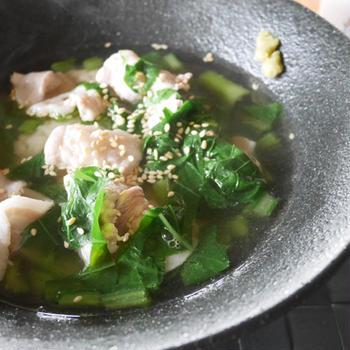 牡蠣だし醤油で 一人お昼ごはん(豚肉出汁茶漬け)
